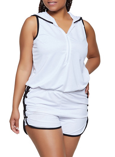 Plus Size Sleeveless Hooded Zip Front Romper,WHT-BLK,large