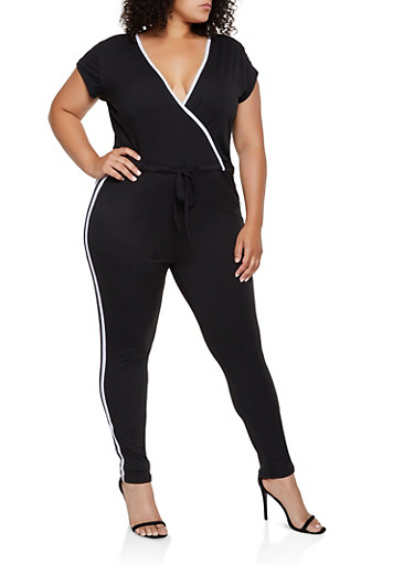 Plus Size Faux Wrap Varsity Stripe Jumpsuit,BLACK/WHITE,large