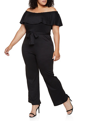Plus Size Off the Shoulder Soft Knit Jumpsuit,BLACK,large