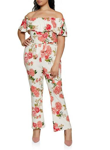 Plus Size Ruffled Printed Off the Shoulder Jumpsuit,WHITE,large