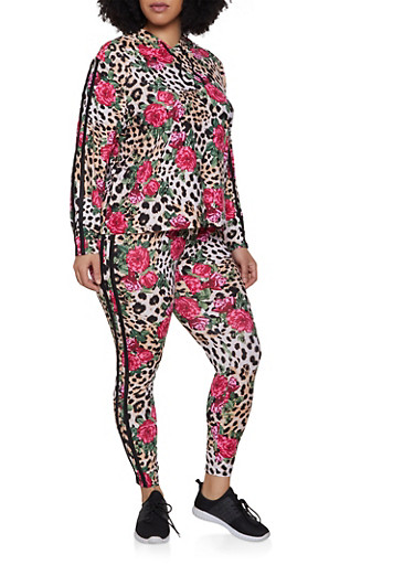 Plus Size Hooded Floral Leopard Top and Leggings Set,BROWN,large
