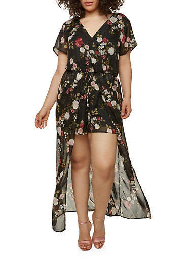 Plus Size Floral Maxi Romper with Short Sleeves,BLACK,large