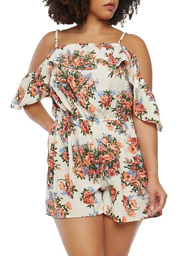 Plus Size Floral Off the Shoulder Romper,BONE,large