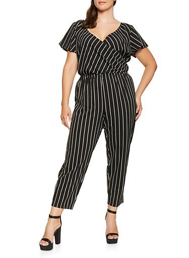 Plus Size Striped Faux Wrap Jumpsuit,BLACK/WHITE,large