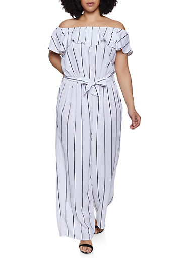 Plus Size Off the Shoulder Striped Jumpsuit | 0392051061245,WHITE,large