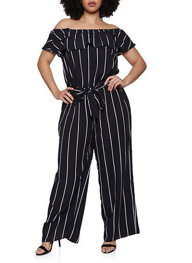 Plus Size Off the Shoulder Striped Jumpsuit | 0392051061245,BLACK/WHITE,large