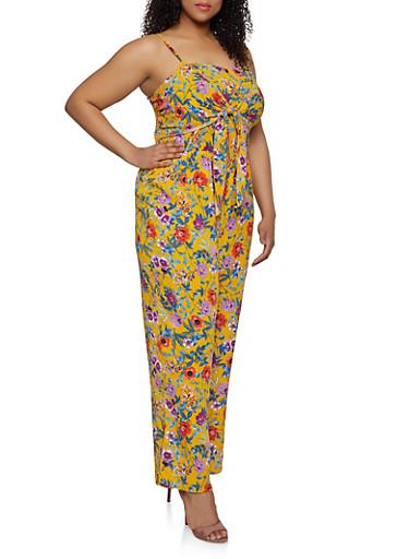 Plus Size Tie Front Floral Jumpsuit,MUSTARD,large