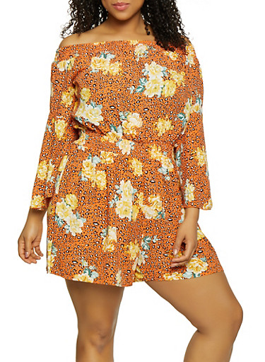 Plus Size Animal Print Off the Shoulder Romper,ORANGE,large
