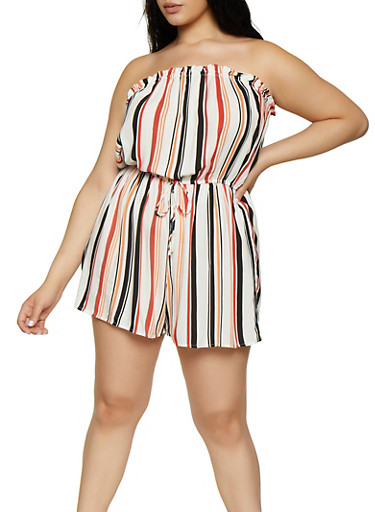 Plus Size Striped Tube Romper