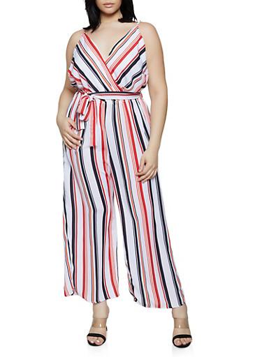 Plus Size Vertical Stripe Faux Wrap Jumpsuit,IVORY,large