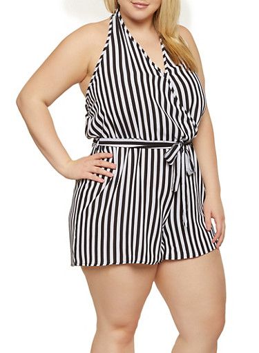Plus Size Striped Open Back Romper,BLACK/WHITE,large