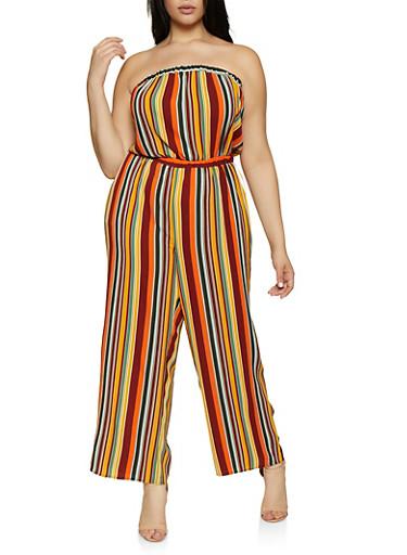 Plus Size Striped Tube Jumpsuit | 0392051061406,RUST,large