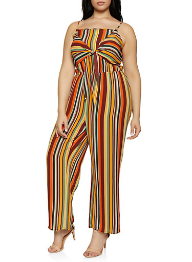 Plus Size Striped Tie Front Cami Jumpsuit,RUST,large