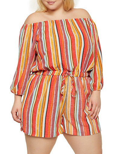 Plus Size Off the Shoulder Striped Romper,MUSTARD,large