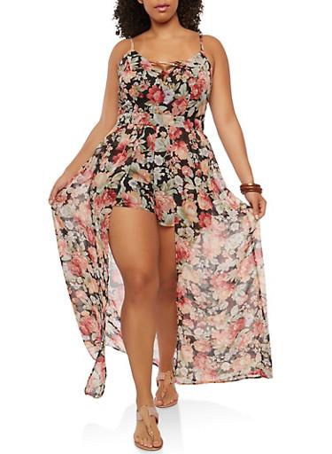 Plus Size Floral Caged Neck Maxi Romper,BLACK,large