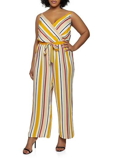 Plus Size Striped Faux Wrap Cami Jumpsuit,BLACK,large