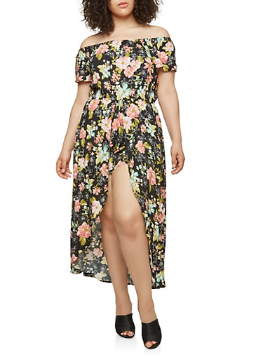 Plus Size Printed Maxi Romper,BLACK,large