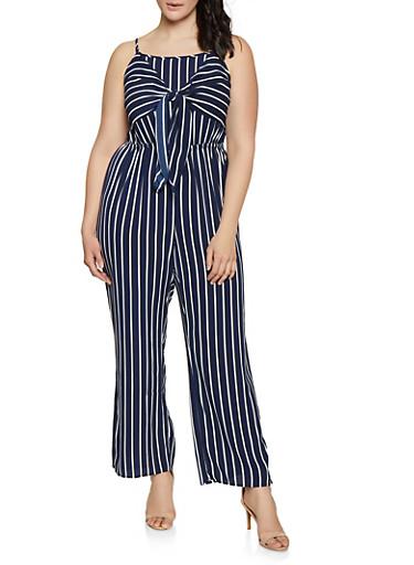 Plus Size Vertical Stripe Tie Front Jumpsuit,NAVY,large