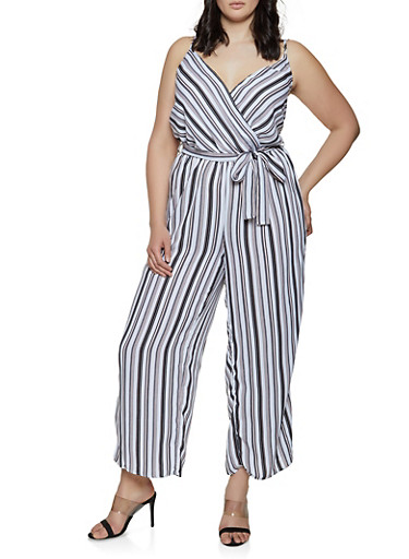 Plus Size Striped Faux Wrap Palazzo Jumpsuit,BLACK/WHITE,large