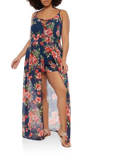 Plus Size Floral Maxi Romper,NAVY,large