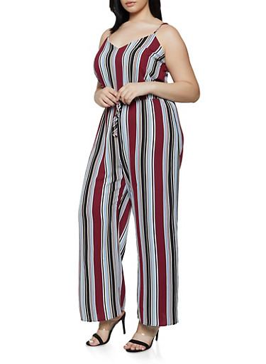 Plus Size Striped Faux Drawstring Palazzo Jumpsuit,WINE,large