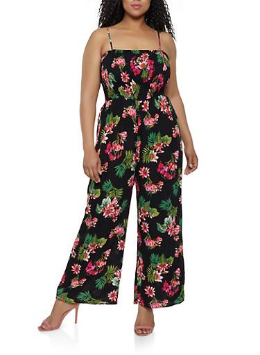 Plus Size Sleeveless Floral Palazzo Jumpsuit,BLACK,large