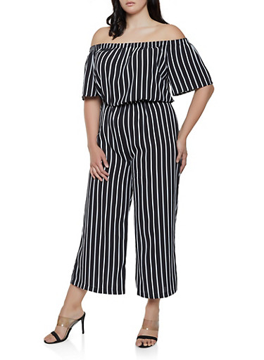 Plus Size Striped Wide Leg Off the Shoulder Jumpsuit,BLACK/WHITE,large