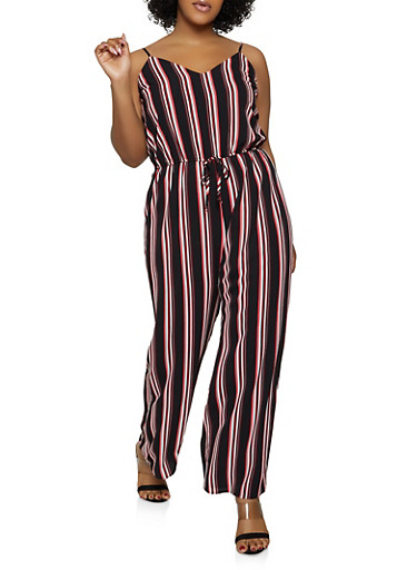 Plus Size Striped Cami Jumpsuit,BLACK,large