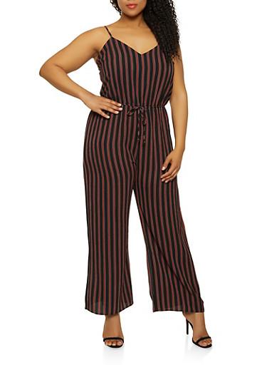 Plus Size Striped Wide Leg Crepe Knit Jumpsuit,BLACK,large