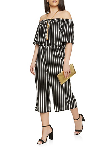 Plus Size Striped Off the Shoulder Cropped Jumpsuit,BLACK/WHITE,large