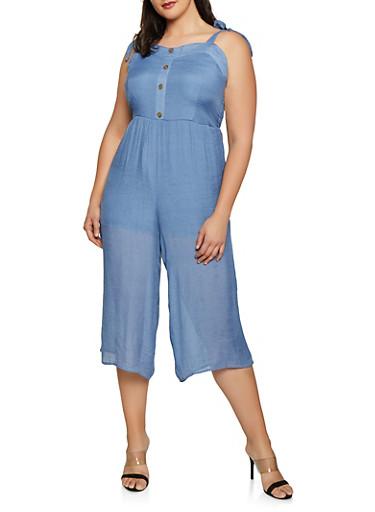 Plus Size Tie Strap Wide Leg Jumpsuit,BLUE,large