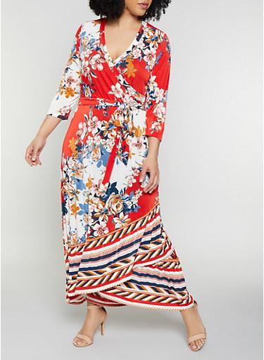 Plus Size Floral Faux Wrap Maxi Dress | 0392056121792,WHITE,large