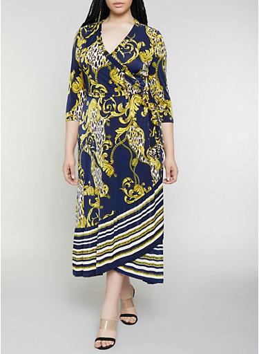 Plus Size Animal Status Print Faux Wrap Maxi Dress,NAVY,large