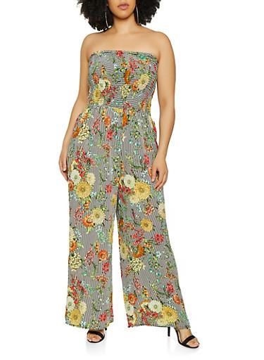 Plus Size Smocked Floral Striped Tube Jumpsuit | 0392056128241,BLACK/WHITE,large