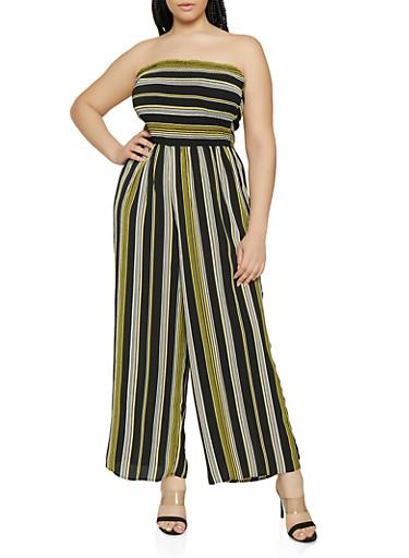 Plus Size Striped Wide Leg Tube Jumpsuit,BLACK,large
