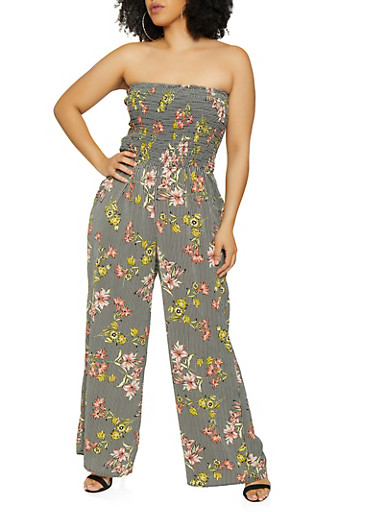 Plus Size Smocked Floral Striped Tube Jumpsuit | 0392056129144,BLACK/WHITE,large