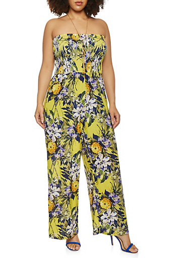 Plus Size Floral Smocked Wide Leg Jumpsuit,YELLOW,large