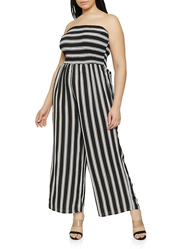Plus Size Wide Leg Striped Tube Jumpsuit,BLACK/WHITE,large