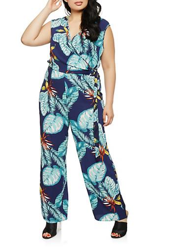 Plus Size Tropical Print Faux Wrap Jumpsuit,NAVY,large