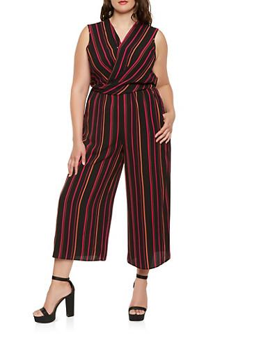 Plus Size Striped Faux Wrap Jumpsuit,BLACK,large