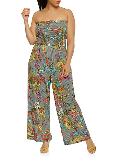 01c1961f4c22 Plus Size Printed Smocked Jumpsuit at Rainbow Shops in Rochester
