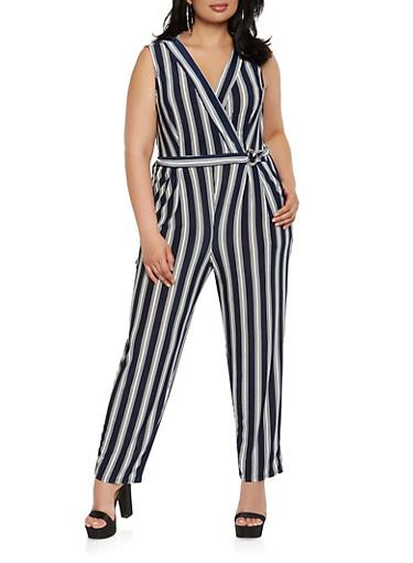 Plus Size Striped Faux Wrap Jumpsuit,NAVY,large