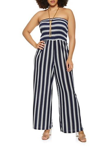 Plus Size Striped Wide Leg Jumpsuit,NAVY,large
