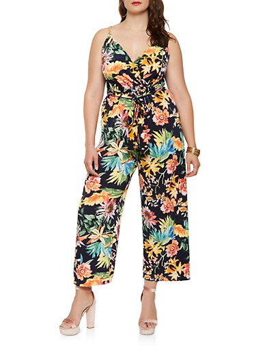 Plus Size Floral Chain Faux Wrap Jumpsuit,NAVY,large