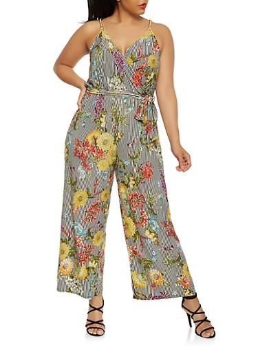 Plus Size Printed Chain Strap Jumpsuit,BLK PTN,large
