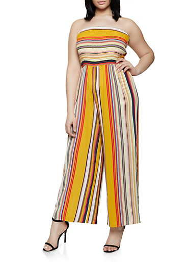 2a79e94e47bc Plus Size Striped Tube Jumpsuit