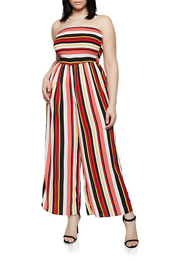 Plus Size Striped Tube Jumpsuit | 0392056129288,PINK,large