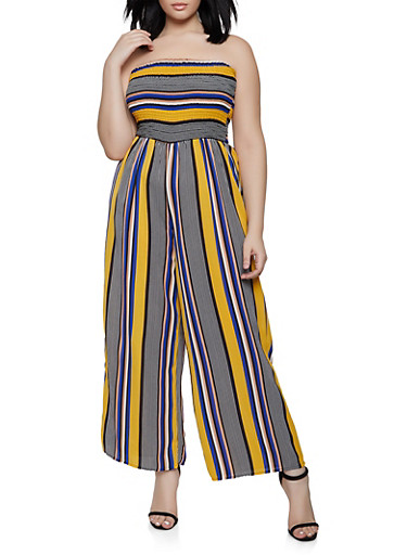 Plus Size Striped Smocked Palazzo Jumpsuit,MUSTARD,large