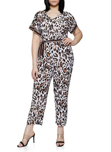 Plus Size Animal Print Tie Waist Jumpsuit,BROWN,large