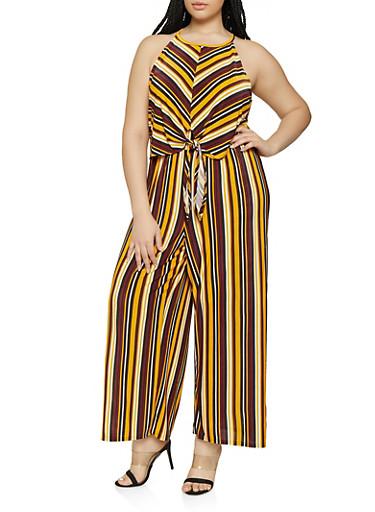 Plus Size Striped Tie Front Overlay Jumpsuit,BLACK,large